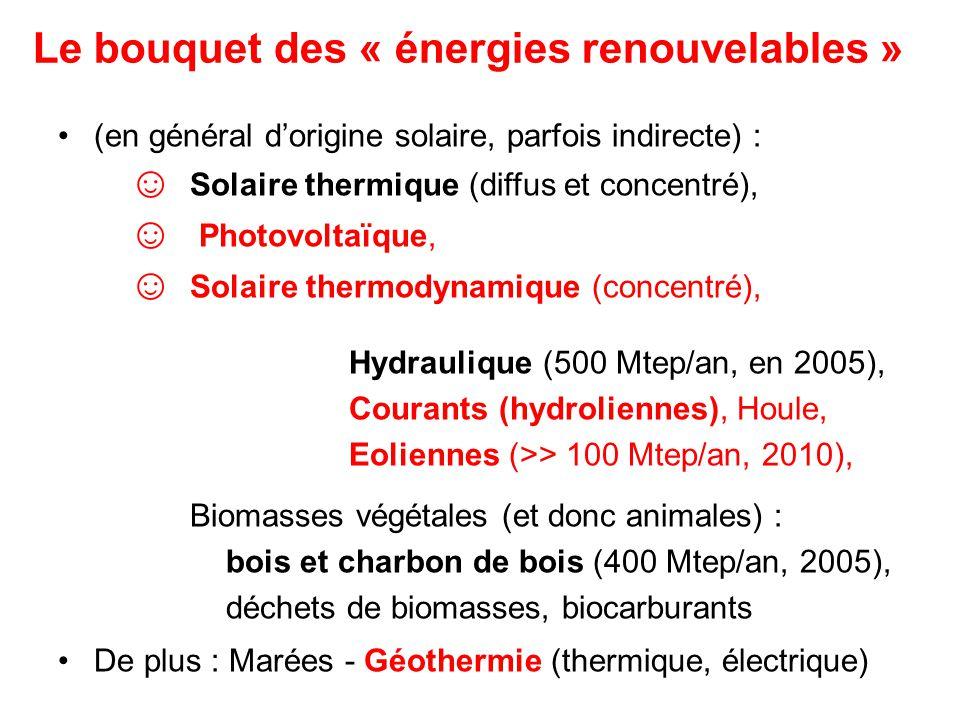 Le bouquet des « énergies renouvelables »