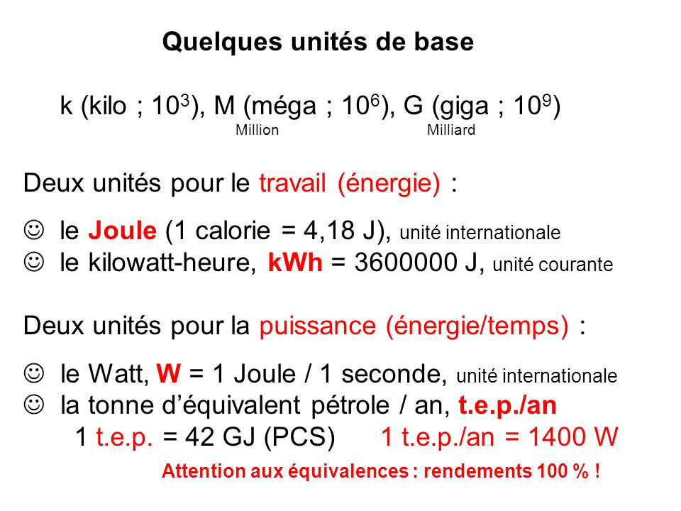 Quelques unités de base k (kilo ; 103), M (méga ; 106), G (giga ; 109)
