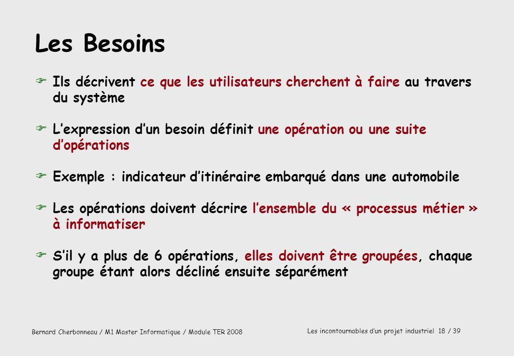 Les Besoins Ils décrivent ce que les utilisateurs cherchent à faire au travers du système.