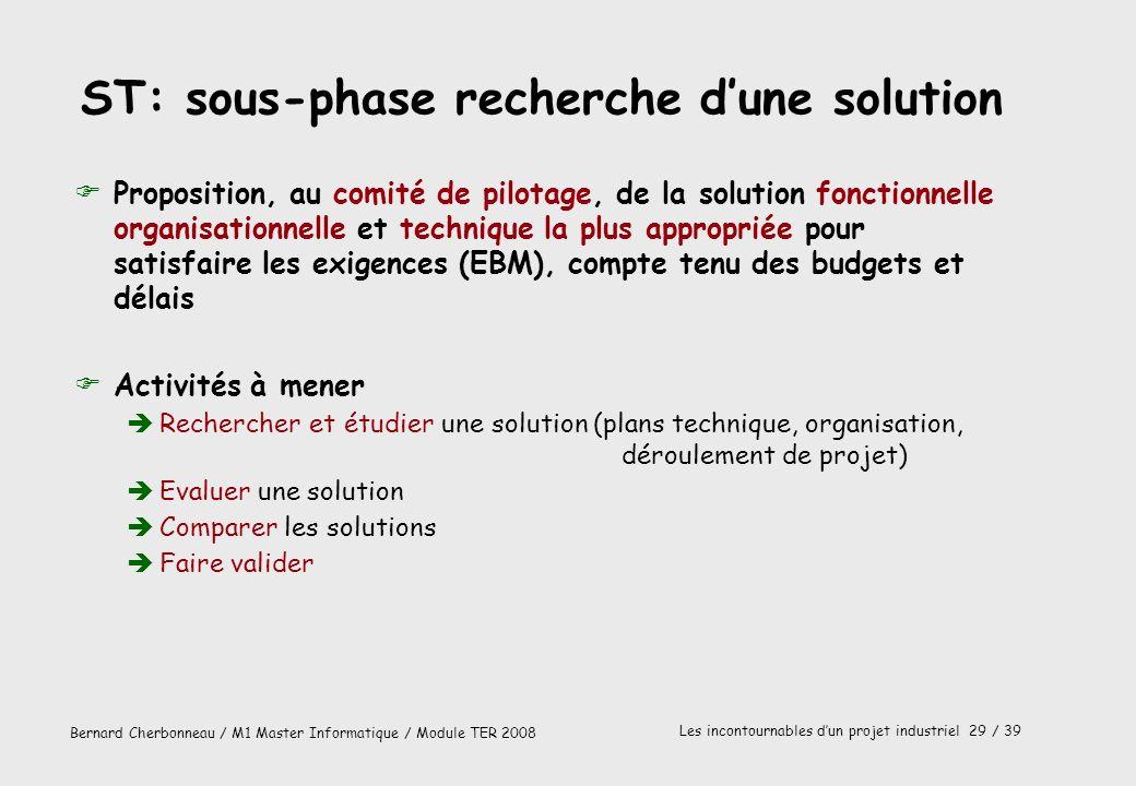 ST: sous-phase recherche d'une solution