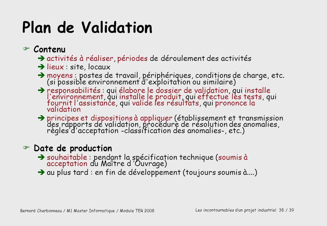 Plan de Validation Contenu Date de production