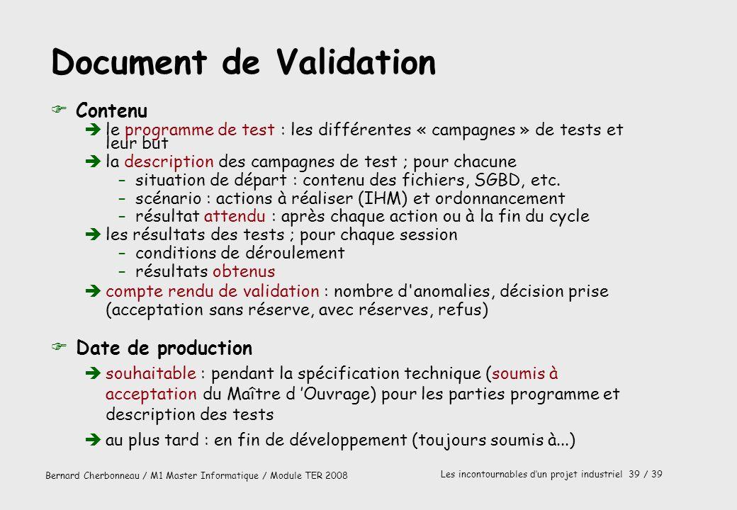 Document de Validation
