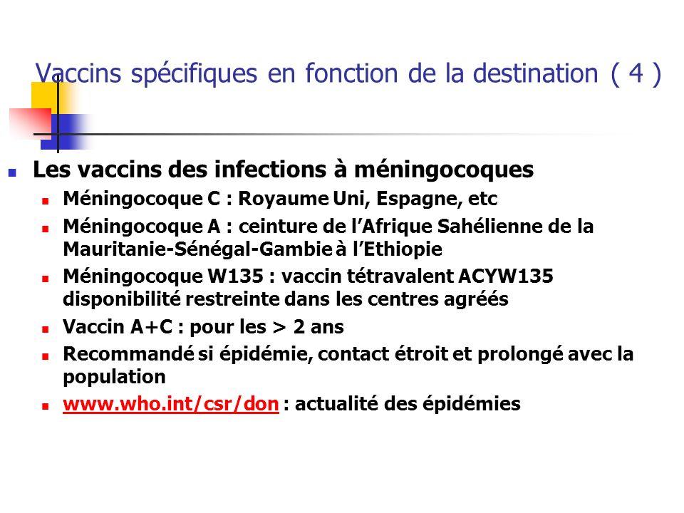 Vaccins spécifiques en fonction de la destination ( 4 )