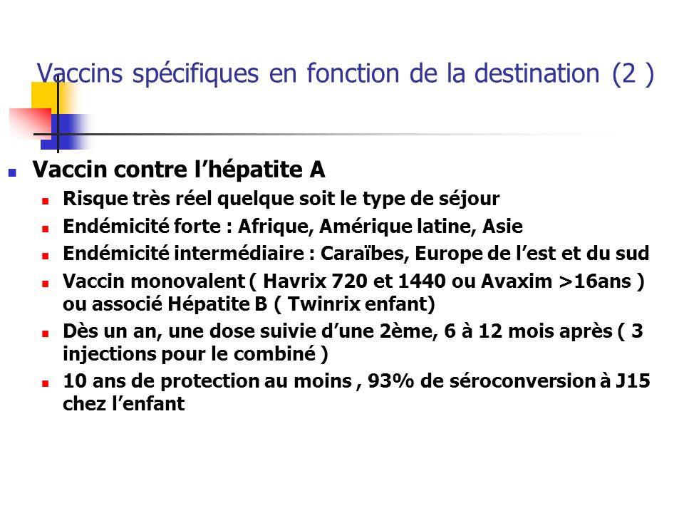 Vaccins spécifiques en fonction de la destination (2 )