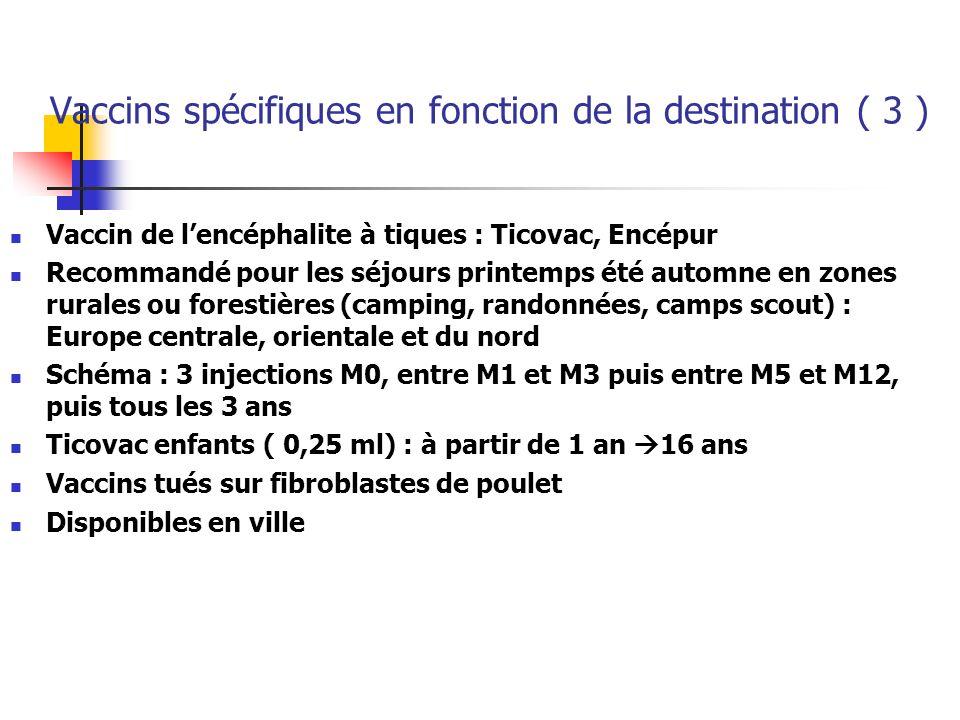 Vaccins spécifiques en fonction de la destination ( 3 )