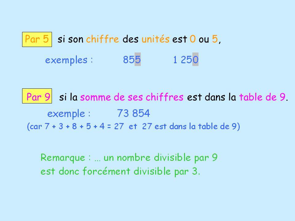 Par 5 si son chiffre des unités est 0 ou 5,