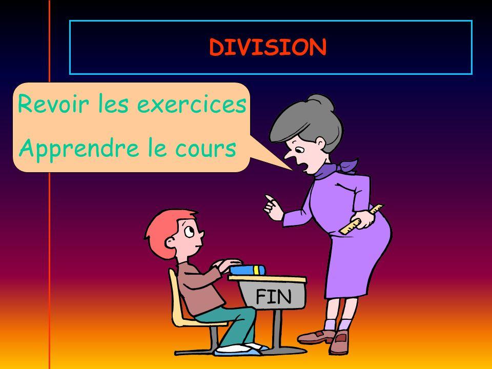 DIVISION Revoir les exercices Apprendre le cours FIN