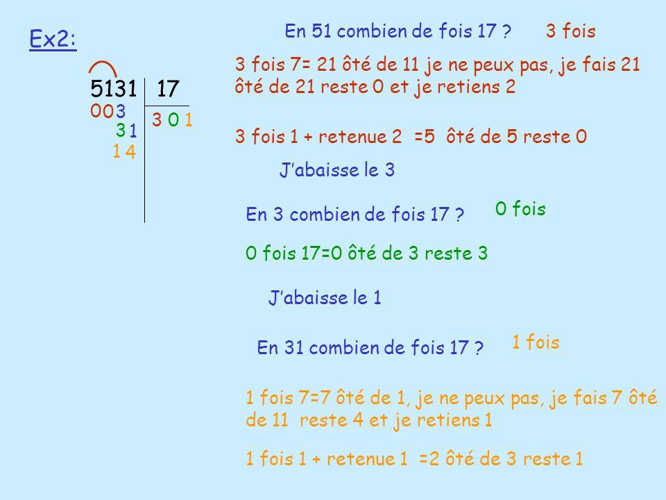 Ex2: 5131 17 En 51 combien de fois 17 3 fois