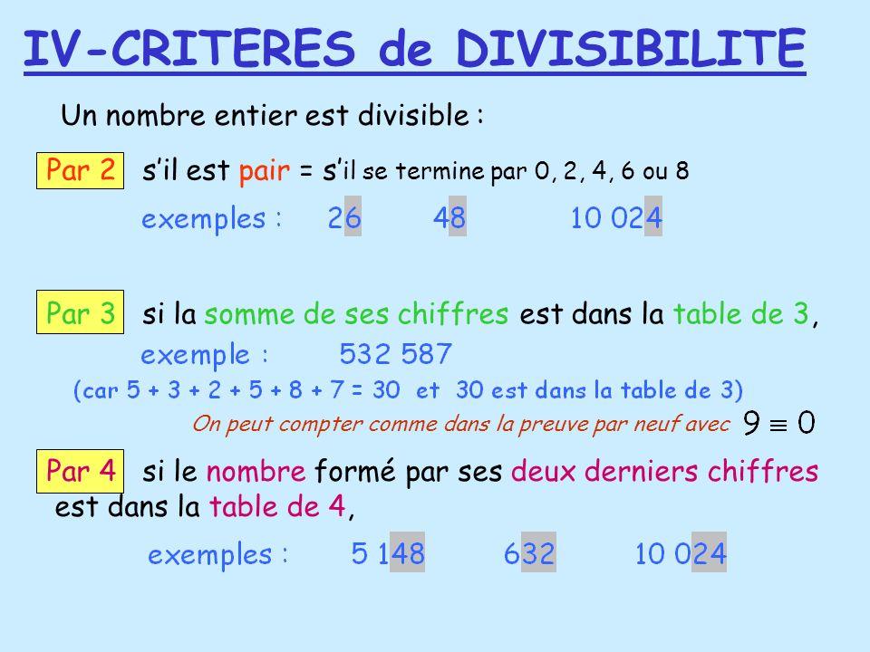 IV-CRITERES de DIVISIBILITE