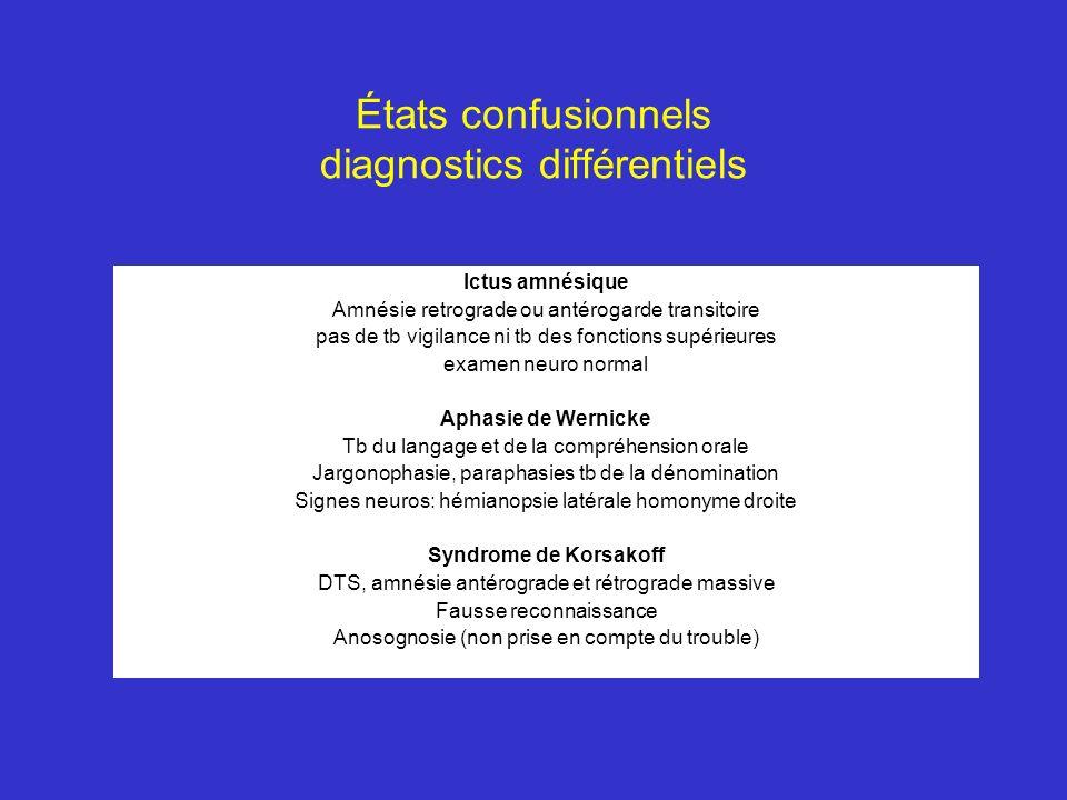États confusionnels diagnostics différentiels