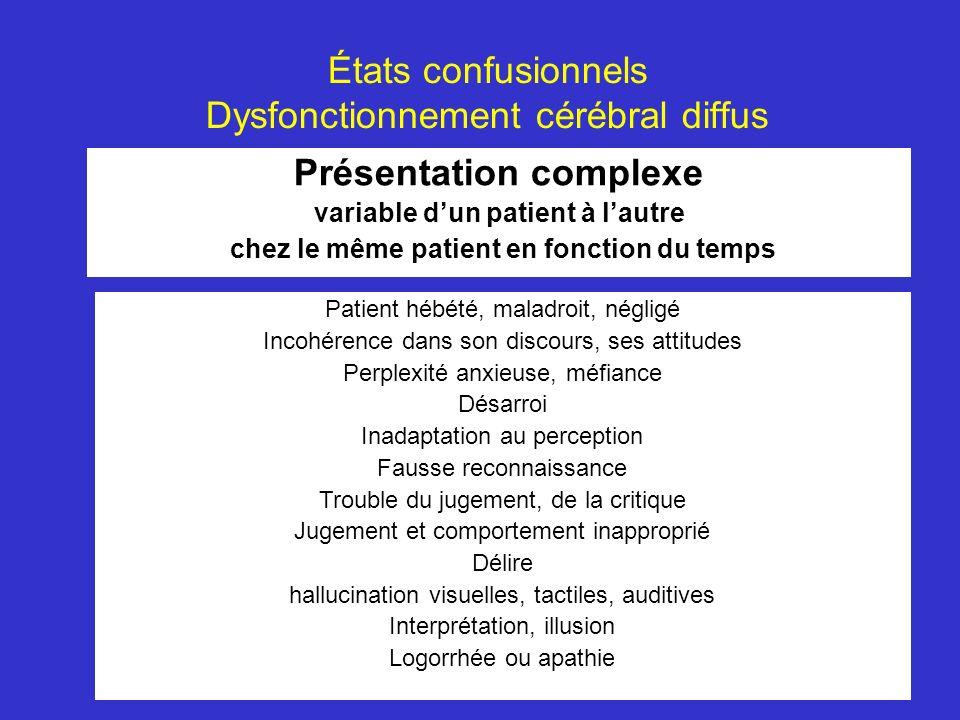 États confusionnels Dysfonctionnement cérébral diffus