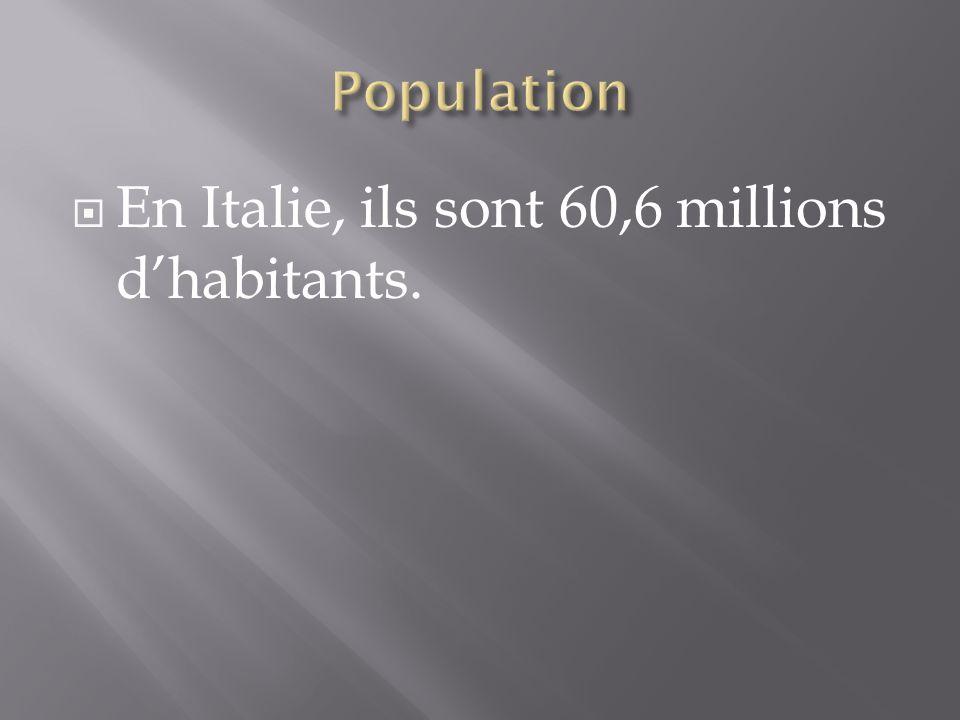 En Italie, ils sont 60,6 millions d'habitants.