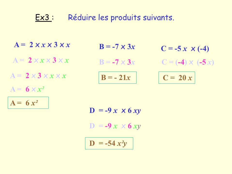 Ex3 : Réduire les produits suivants. A = 2 x x x 3 x x. B = -7 x 3x. C = -5 x x (-4) A = 2 x x x 3 x x.
