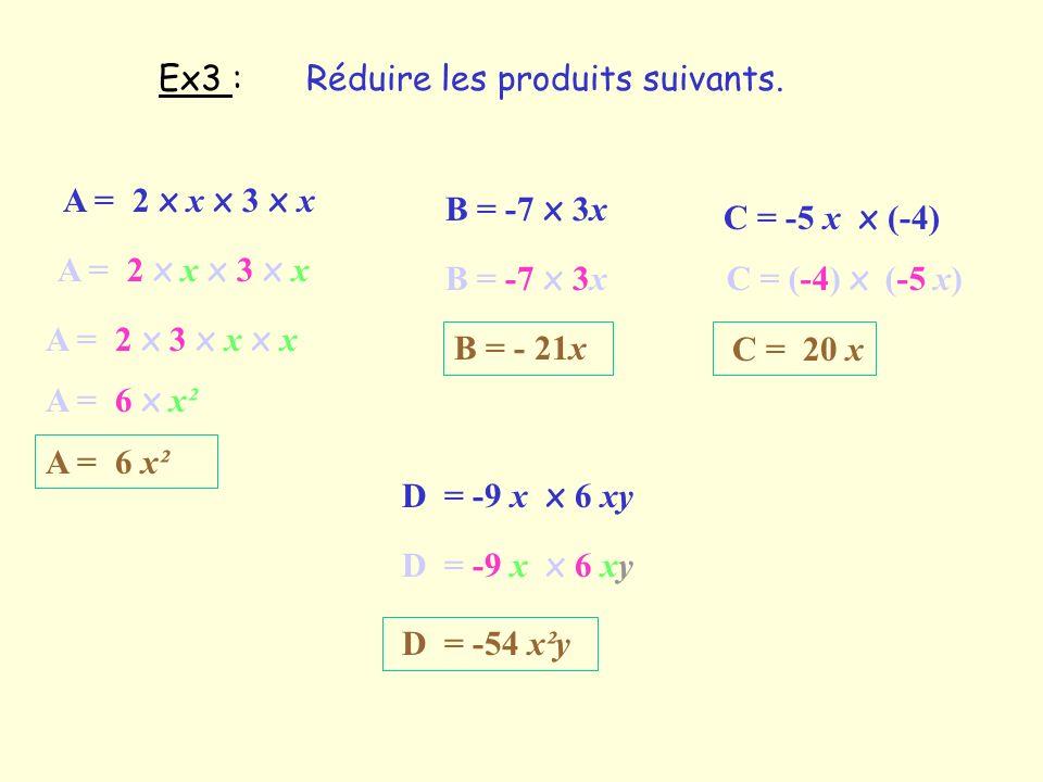 Ex3 :Réduire les produits suivants. A = 2 x x x 3 x x. B = -7 x 3x. C = -5 x x (-4) A = 2 x x x 3 x x.