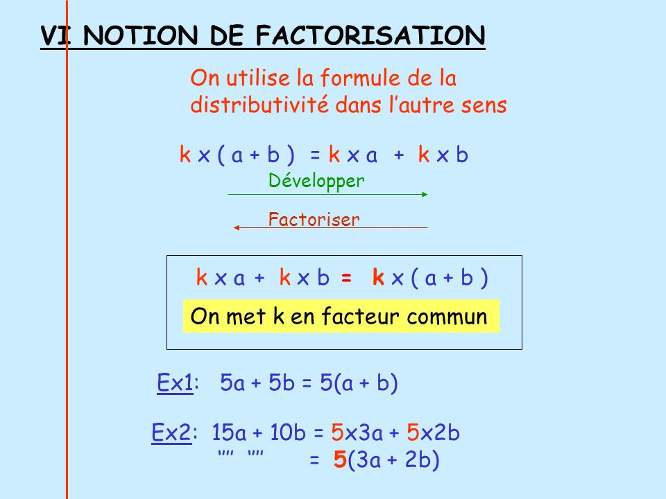 VI NOTION DE FACTORISATION