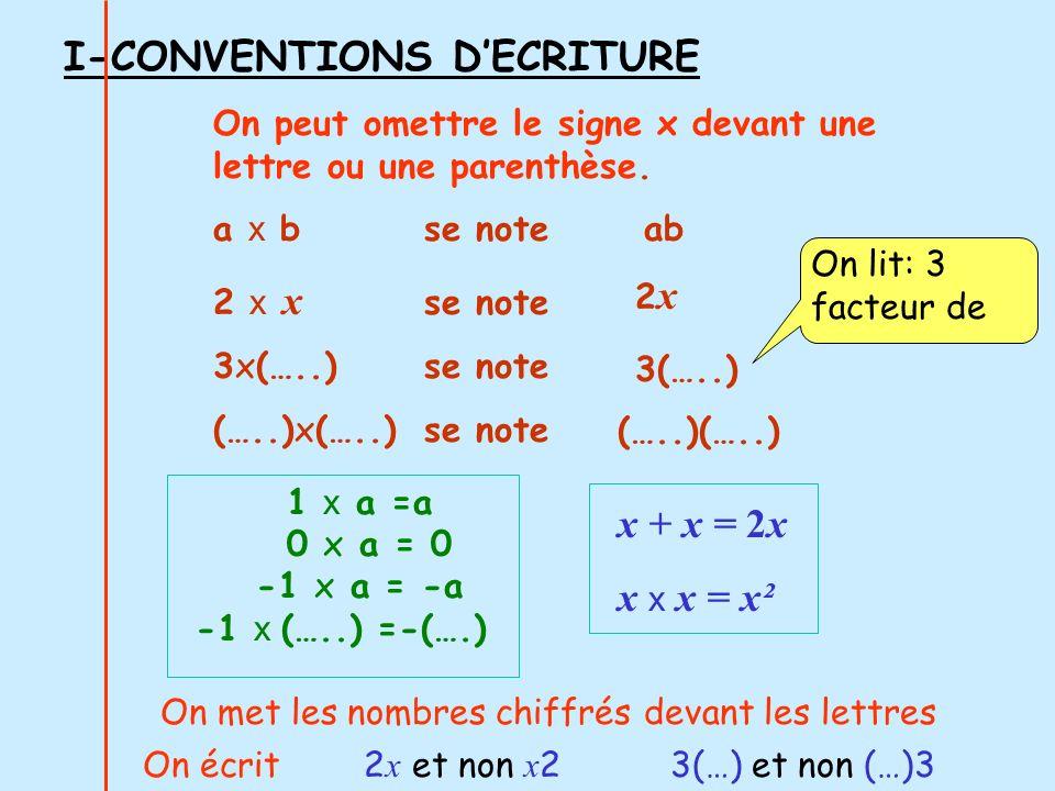 I-CONVENTIONS D'ECRITURE