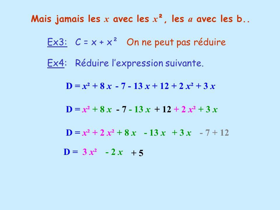 Mais jamais les x avec les x², les a avec les b..
