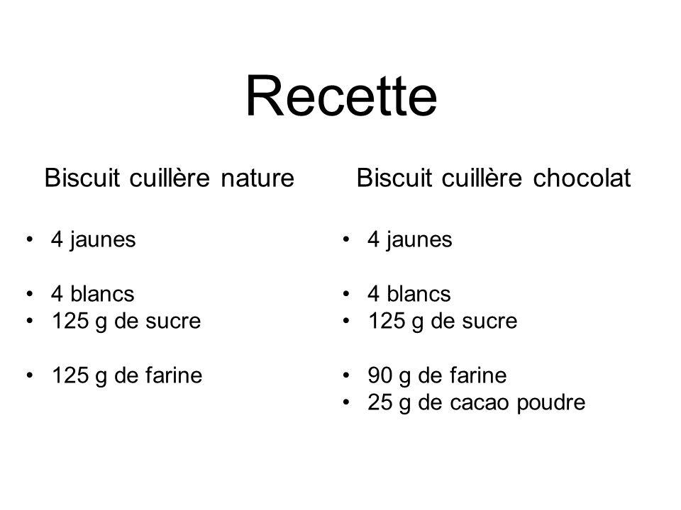 Recette Biscuit cuillère nature Biscuit cuillère chocolat 4 jaunes