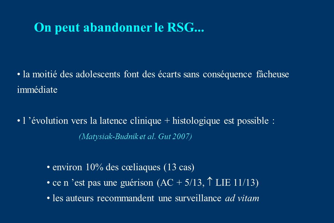 On peut abandonner le RSG...