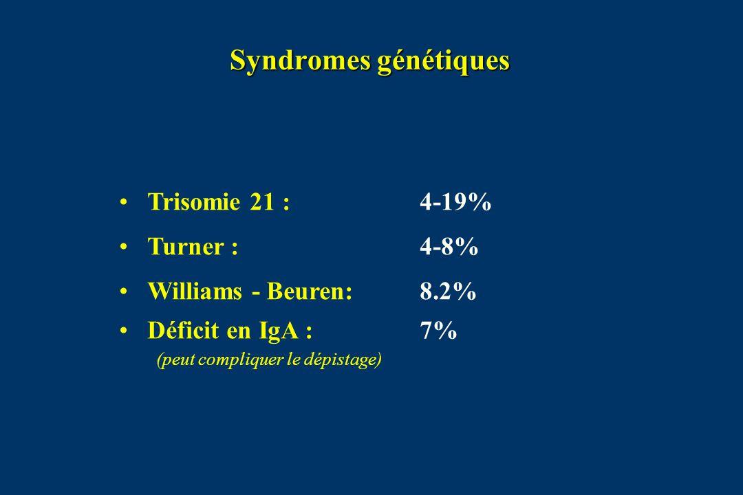 Syndromes génétiques Trisomie 21 : 4-19% Turner : 4-8%
