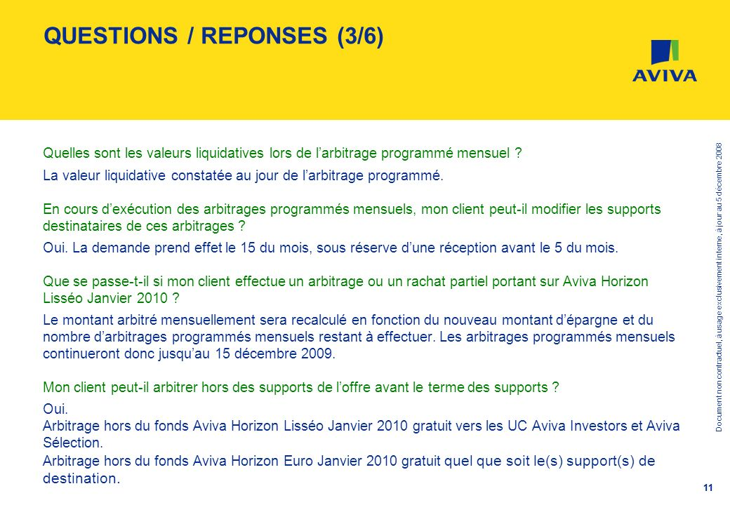 QUESTIONS / REPONSES (3/6)