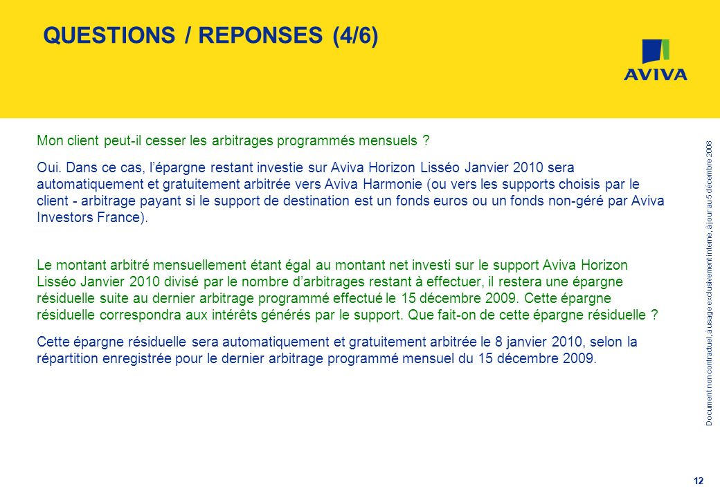 QUESTIONS / REPONSES (4/6)