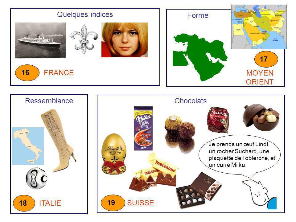 Quelques indices Forme 17 16 FRANCE MOYEN ORIENT Ressemblance