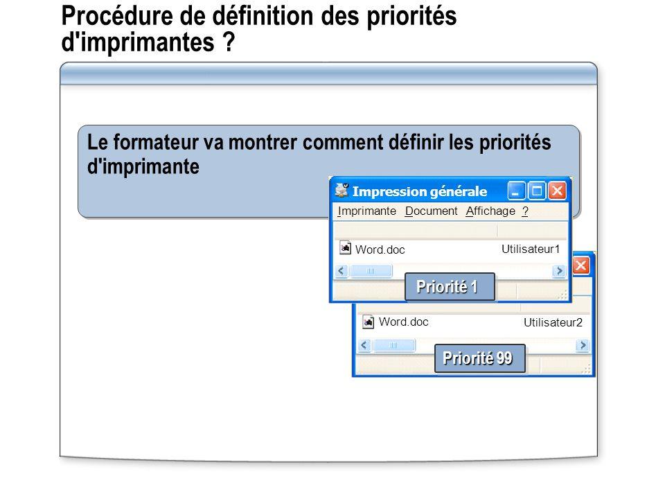 Procédure de définition des priorités d imprimantes