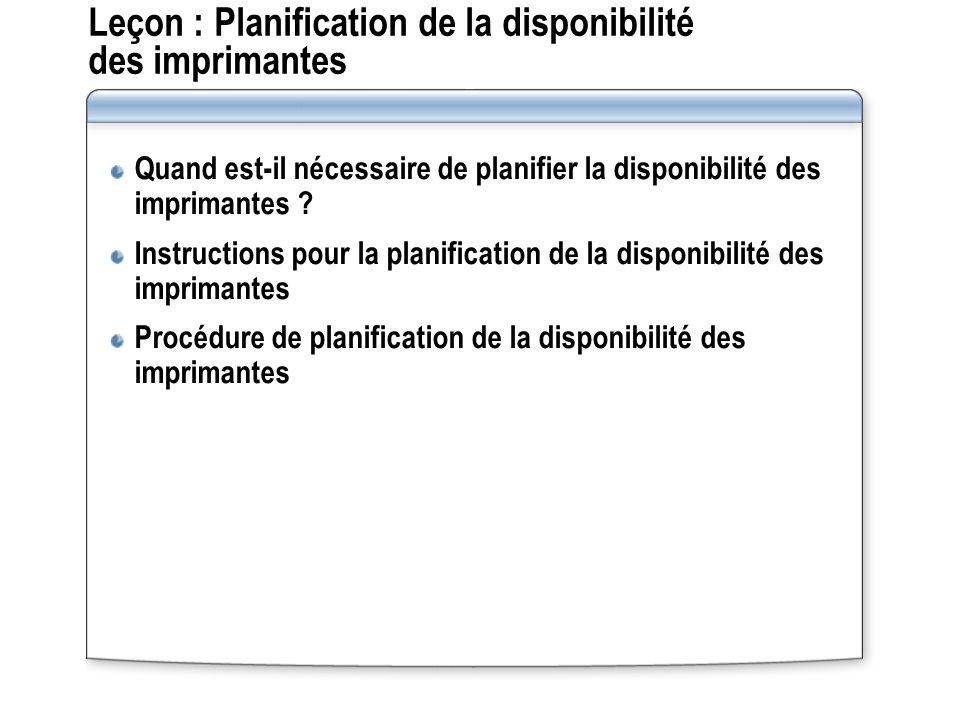Leçon : Planification de la disponibilité des imprimantes