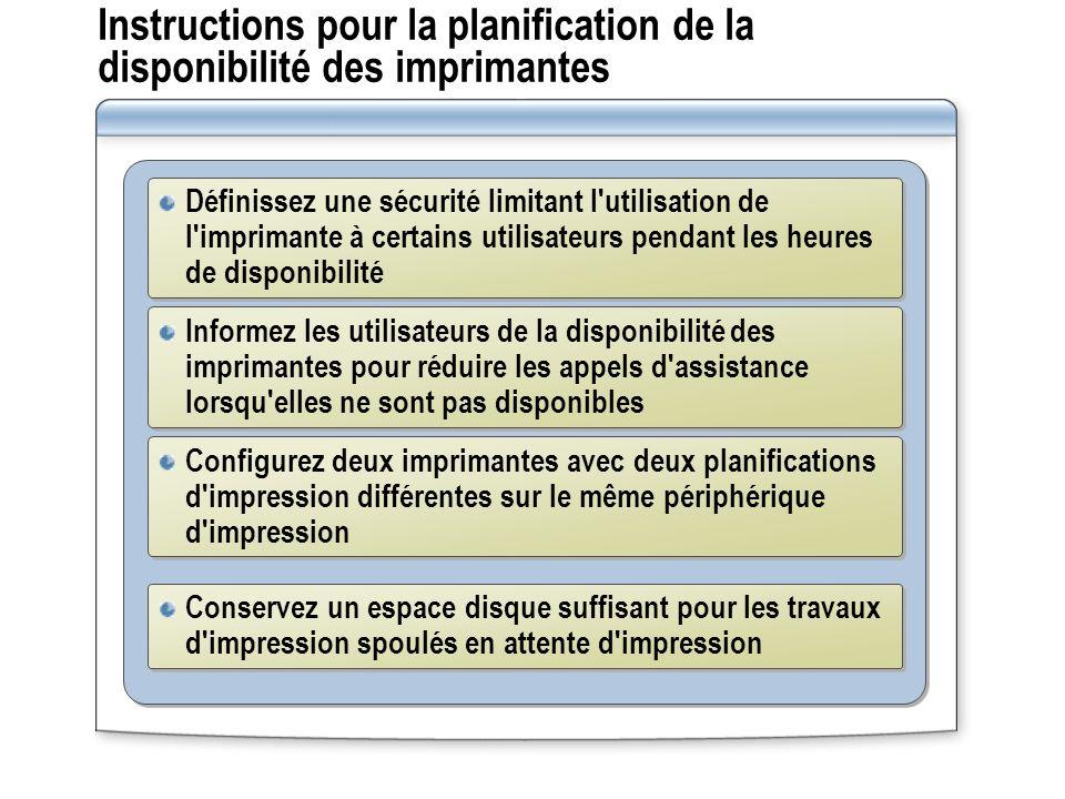 Instructions pour la planification de la disponibilité des imprimantes