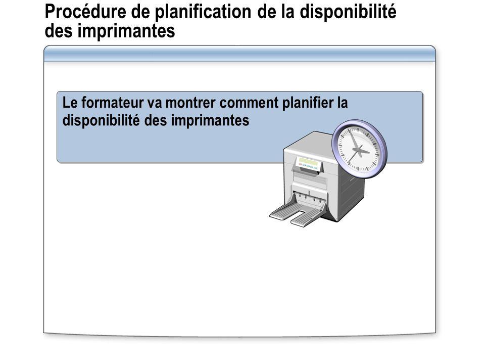 Procédure de planification de la disponibilité des imprimantes