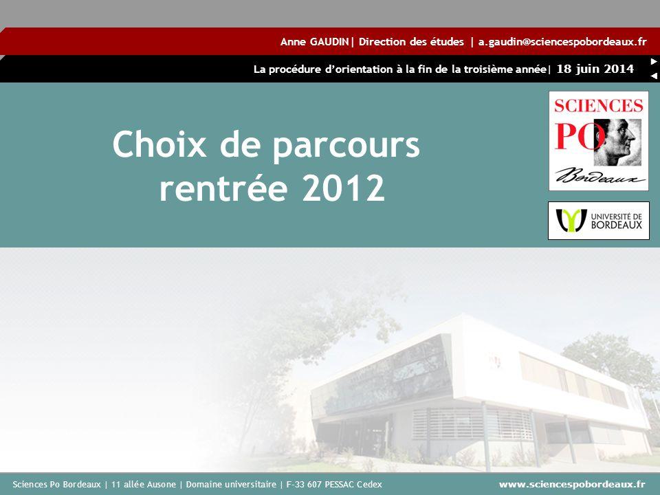 Choix de parcours rentrée 2012
