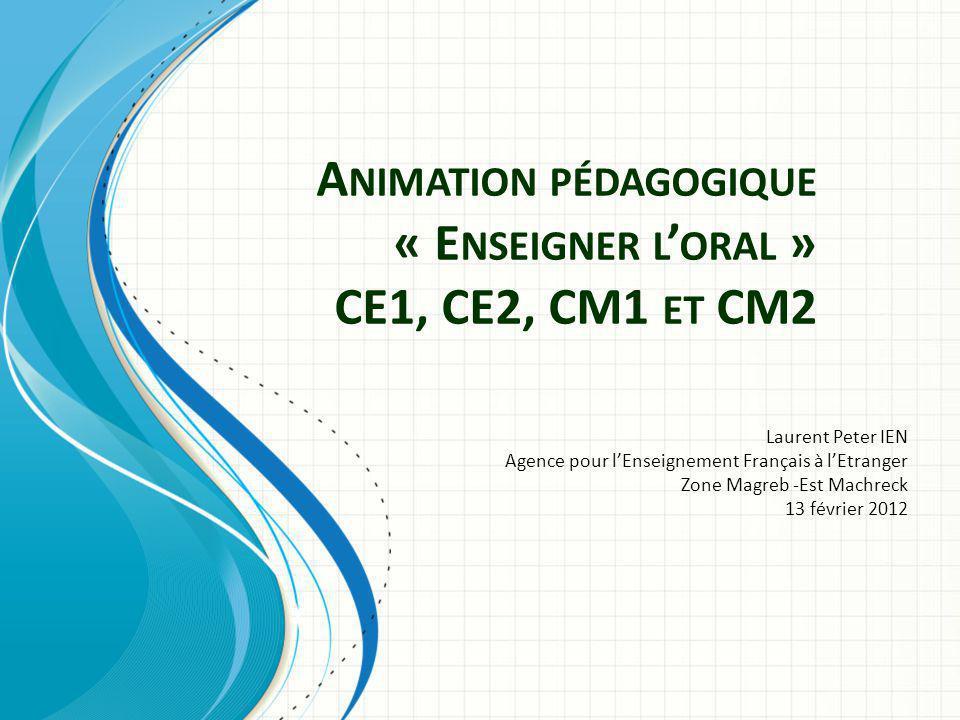 Animation pédagogique « Enseigner l'oral » CE1, CE2, CM1 et CM2