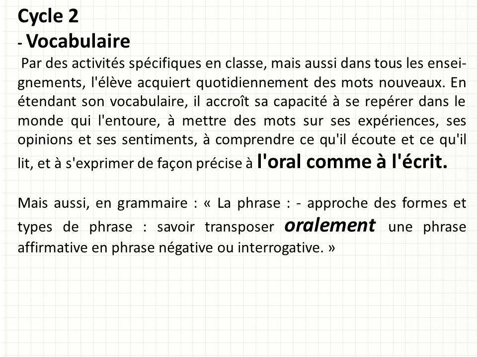 Cycle 2 - Vocabulaire.