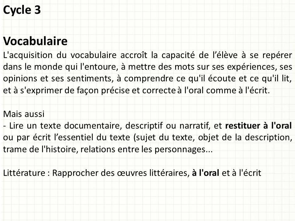 Cycle 3 Vocabulaire.
