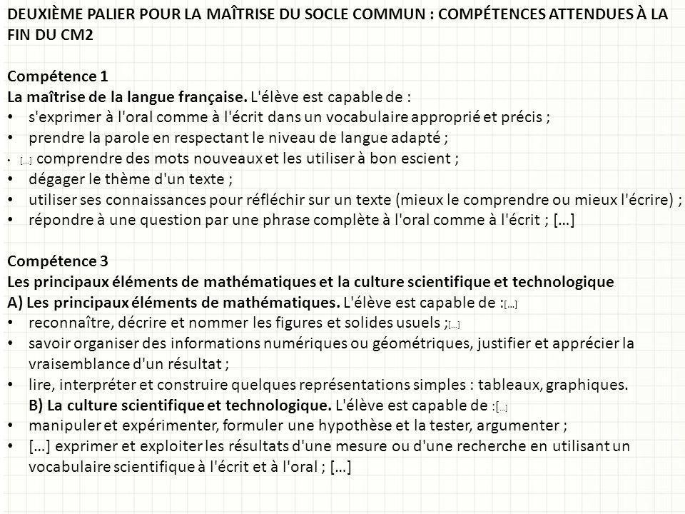 La maîtrise de la langue française. L élève est capable de :