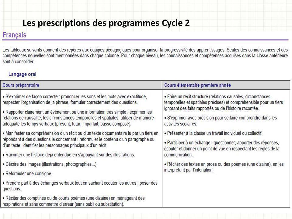 Les prescriptions des programmes Cycle 2