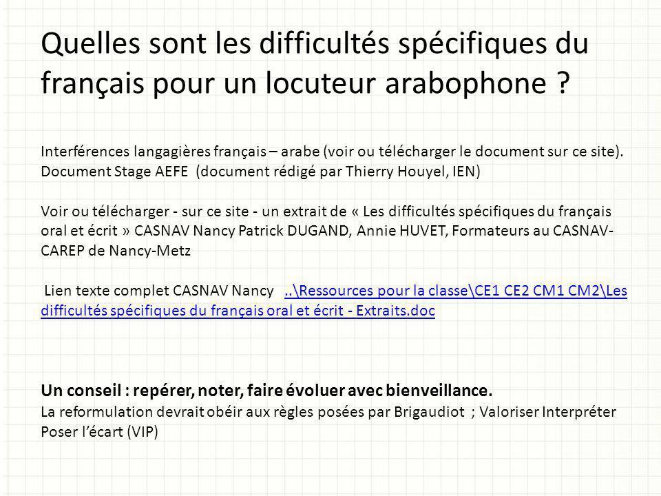 Quelles sont les difficultés spécifiques du français pour un locuteur arabophone