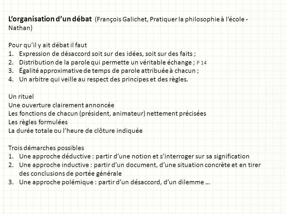 L'organisation d'un débat (François Galichet, Pratiquer la philosophie à l'école - Nathan)
