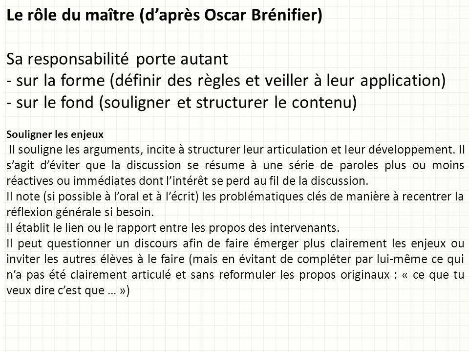 Le rôle du maître (d'après Oscar Brénifier)