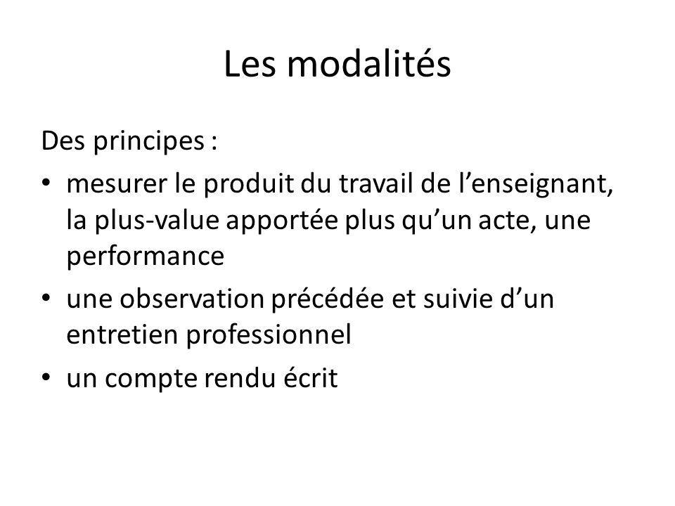 Les modalités Des principes :