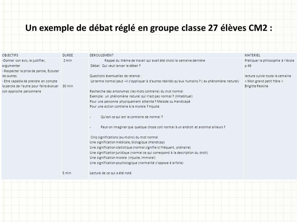 Un exemple de débat réglé en groupe classe 27 élèves CM2 :
