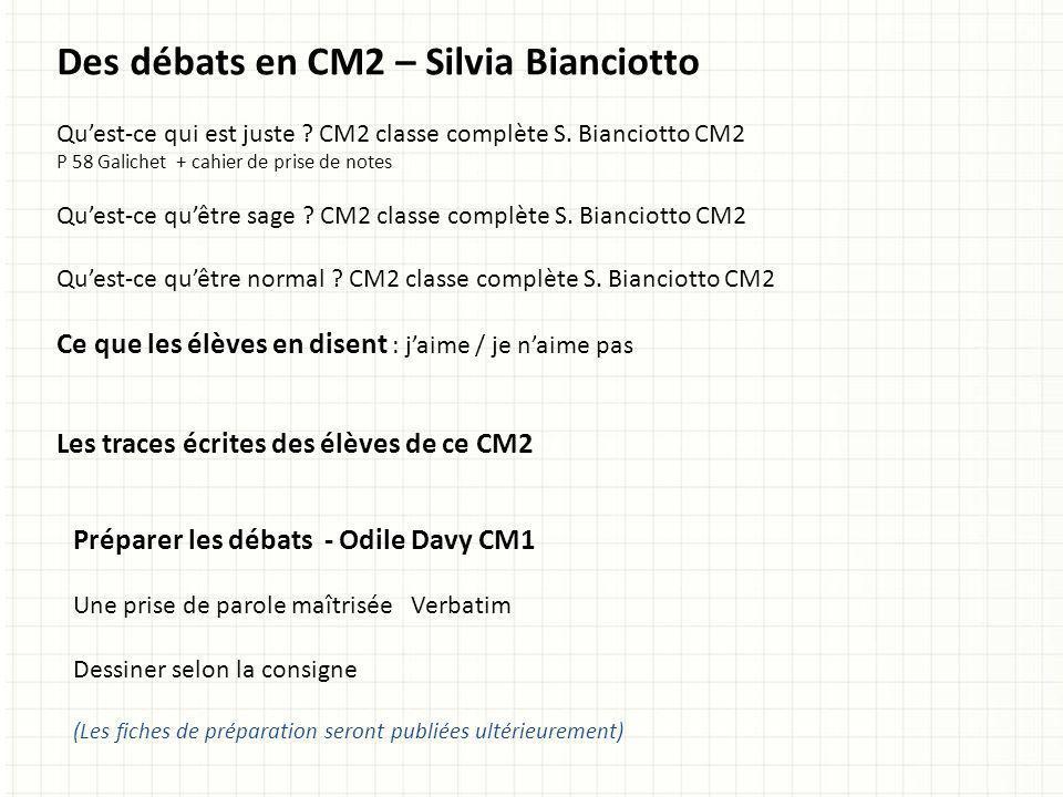 Des débats en CM2 – Silvia Bianciotto