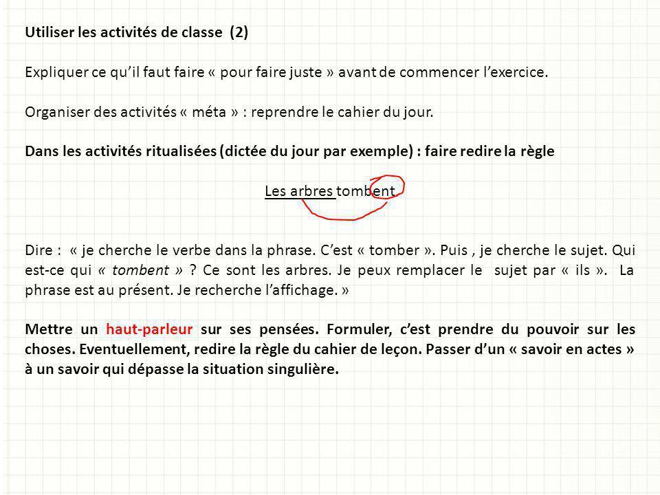 Utiliser les activités de classe (2)