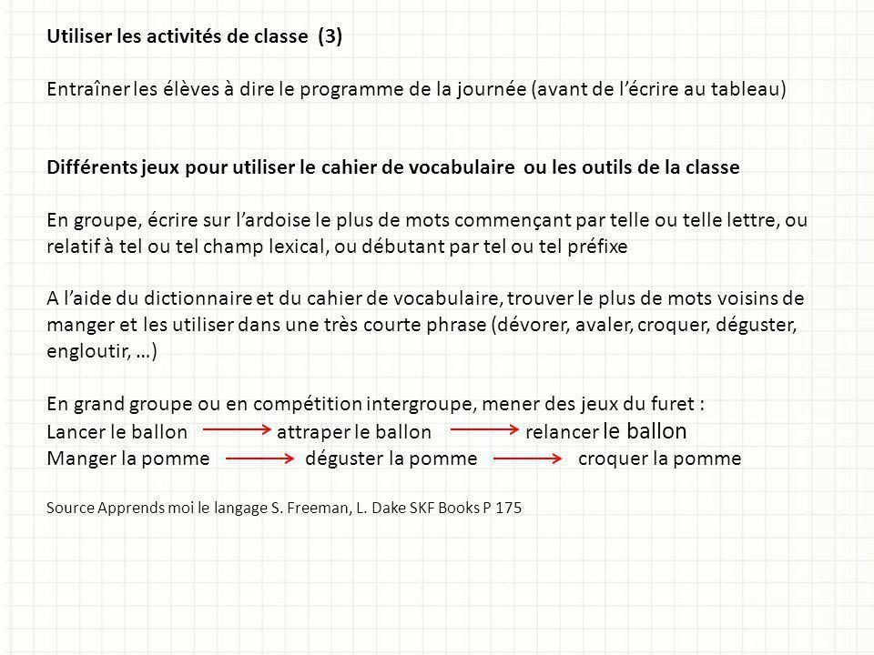 Utiliser les activités de classe (3)