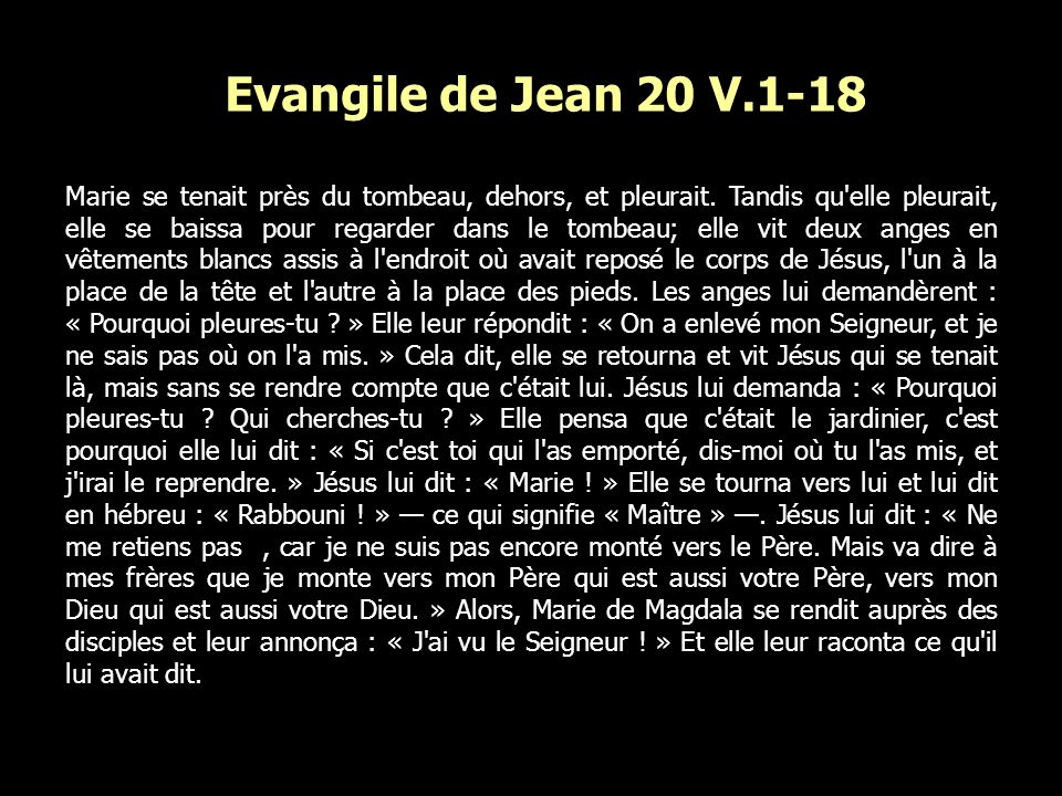 Evangile de Jean 20 V.1-18