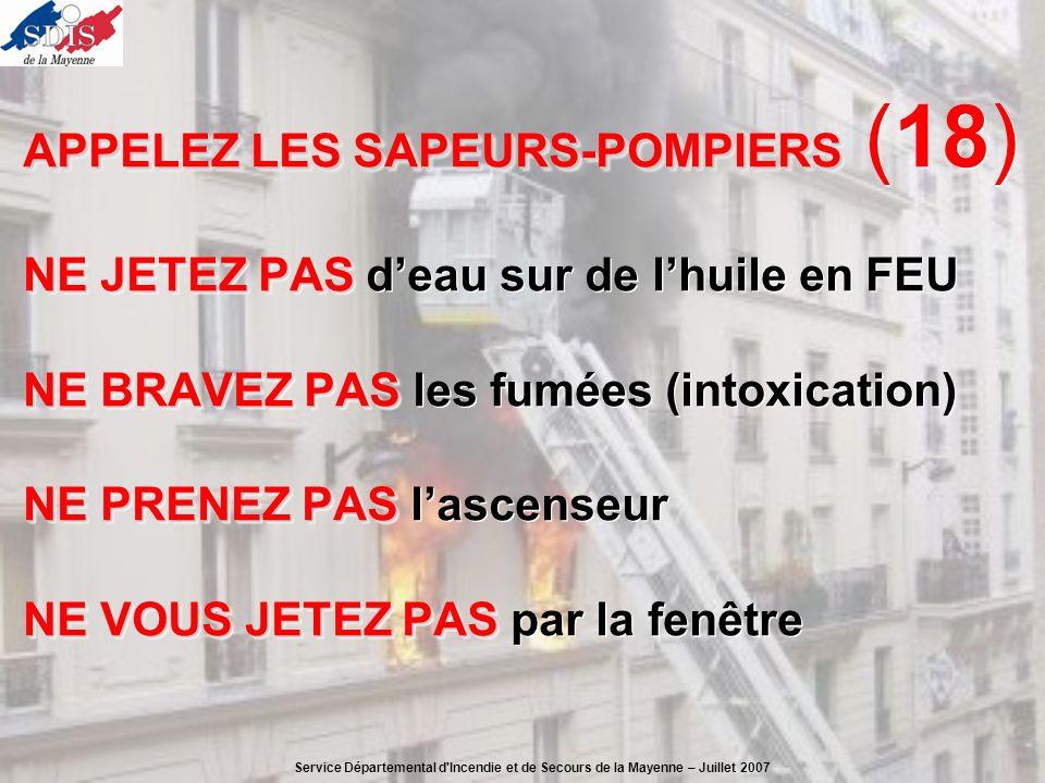 APPELEZ LES SAPEURS-POMPIERS (18) NE JETEZ PAS d'eau sur de l'huile en FEU NE BRAVEZ PAS les fumées (intoxication) NE PRENEZ PAS l'ascenseur NE VOUS JETEZ PAS par la fenêtre