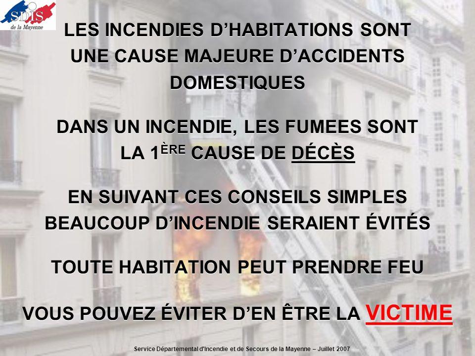 LES INCENDIES D'HABITATIONS SONT UNE CAUSE MAJEURE D'ACCIDENTS DOMESTIQUES DANS UN INCENDIE, LES FUMEES SONT LA 1ÈRE CAUSE DE DÉCÈS EN SUIVANT CES CONSEILS SIMPLES BEAUCOUP D'INCENDIE SERAIENT ÉVITÉS TOUTE HABITATION PEUT PRENDRE FEU VOUS POUVEZ ÉVITER D'EN ÊTRE LA VICTIME