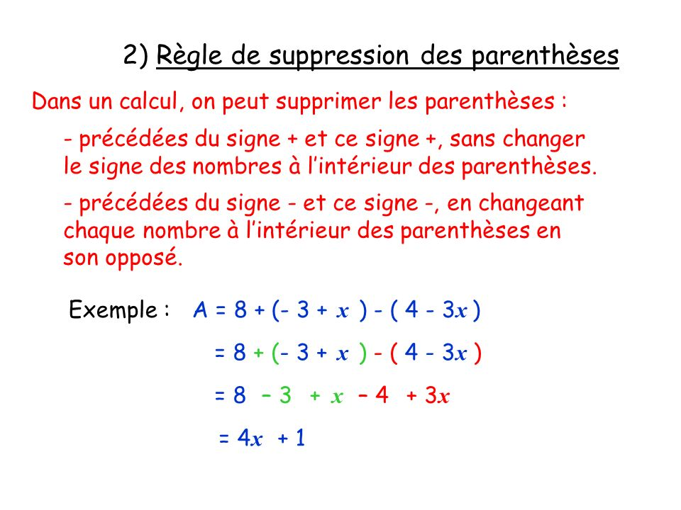 2) Règle de suppression des parenthèses