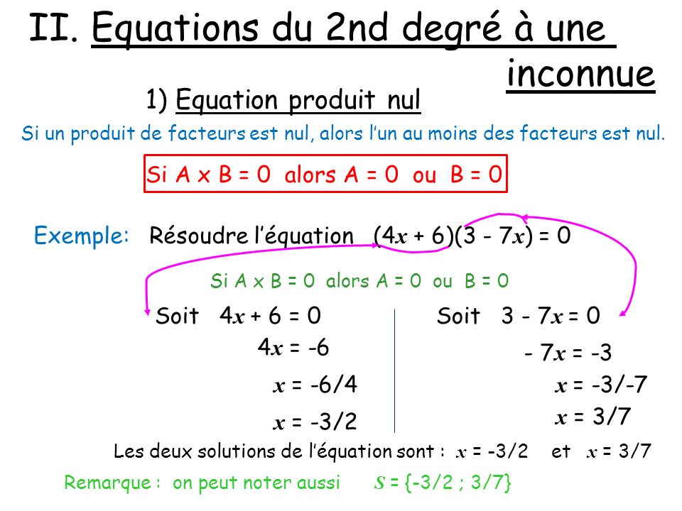 II. Equations du 2nd degré à une inconnue